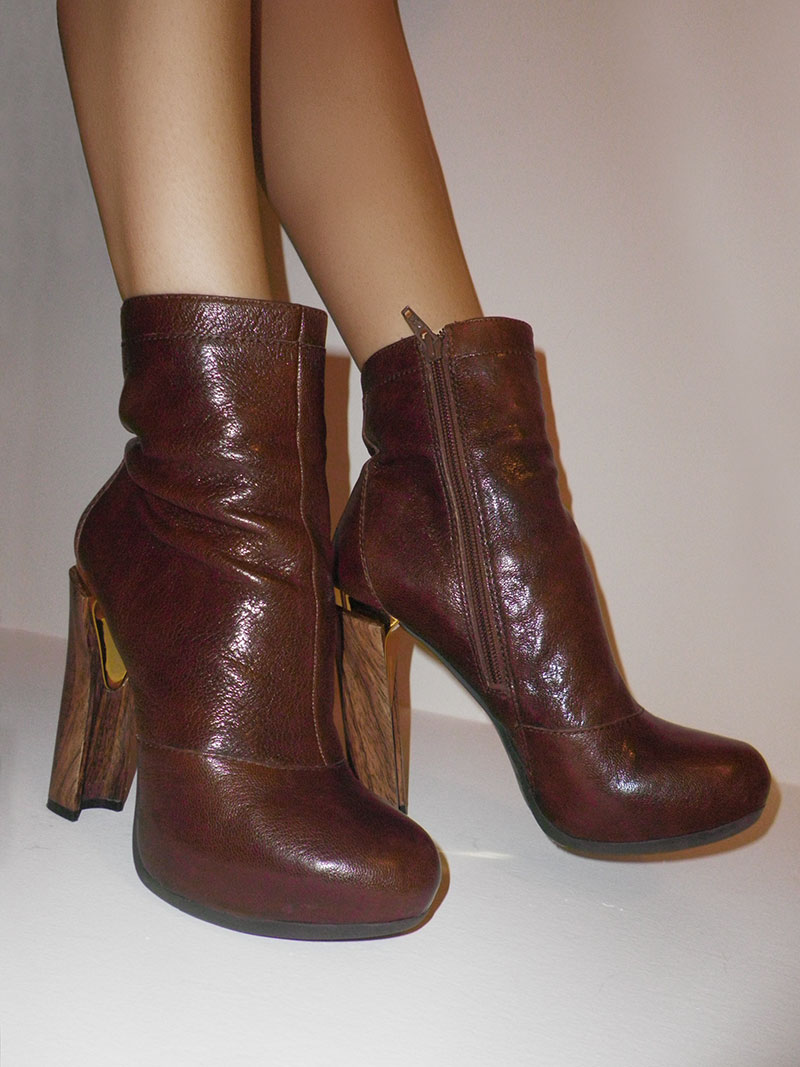 Nine West Mavenue Brown Boots with Gold Detail