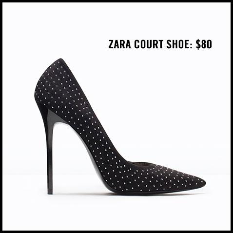 Zara Micro Studded Court Shoe Pump