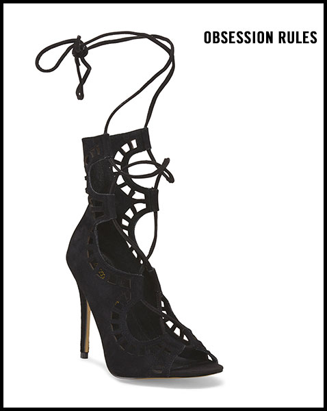OBSESSION RULES Leather Mid Shaft Lace Up Sandal