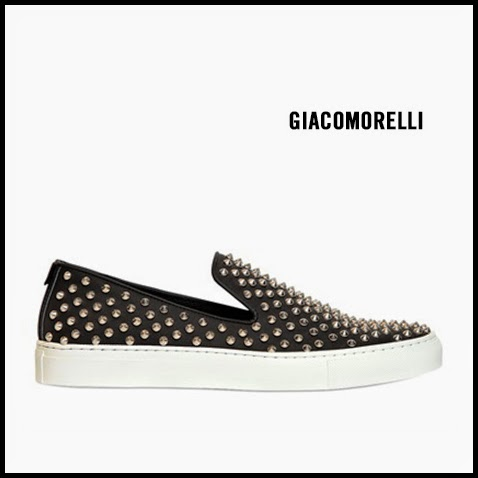 Giacomorelli-Black-Studded-Leather-Slip-On-Sneakers