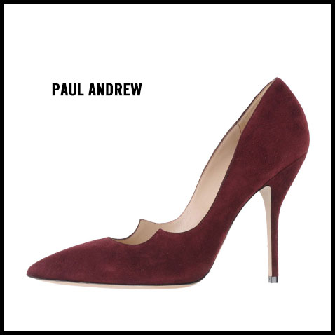 Paul Andrew Burgundy Scalloped Pump